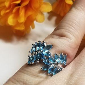 Exqusite 925S Aquamarine Leaf ring
